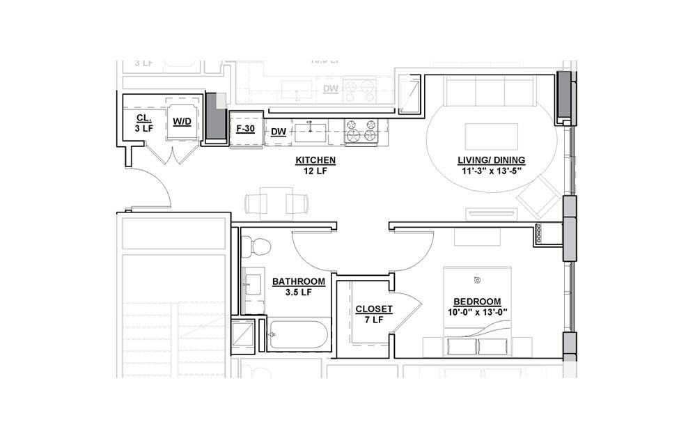 Accent Studio Bedroom 1 Bath Floorplan