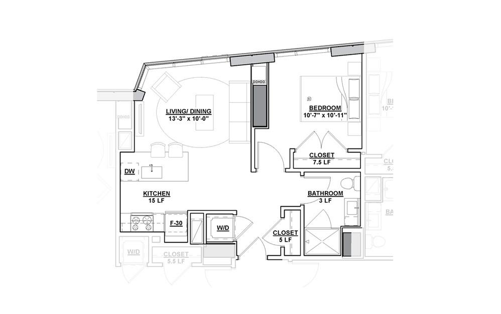 Aria Studio Bedroom 1 Bath Floorplan