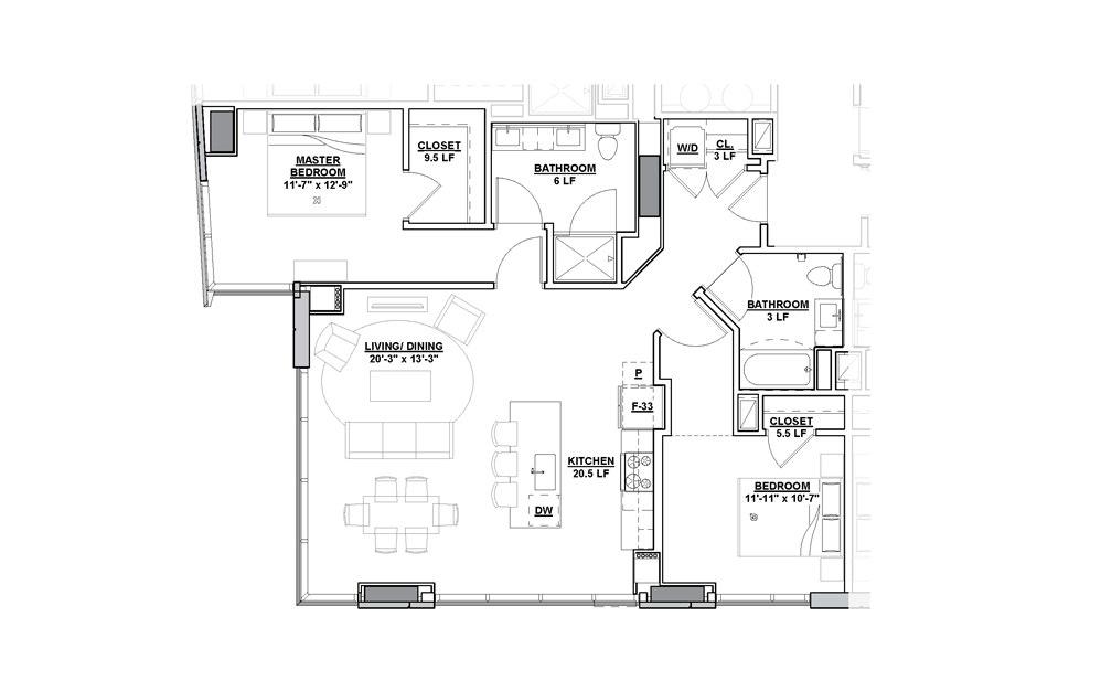 Broadway 2 Bedroom 2 Bath Floorplan