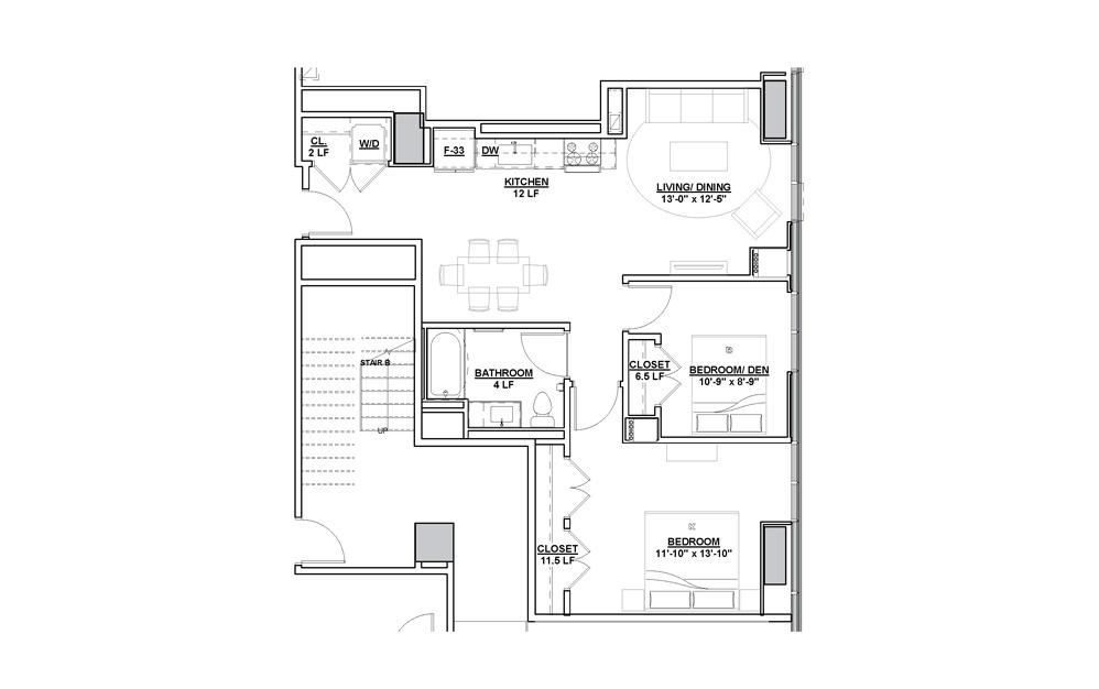 Cue 1 Bedroom 1 Bath Floorplan