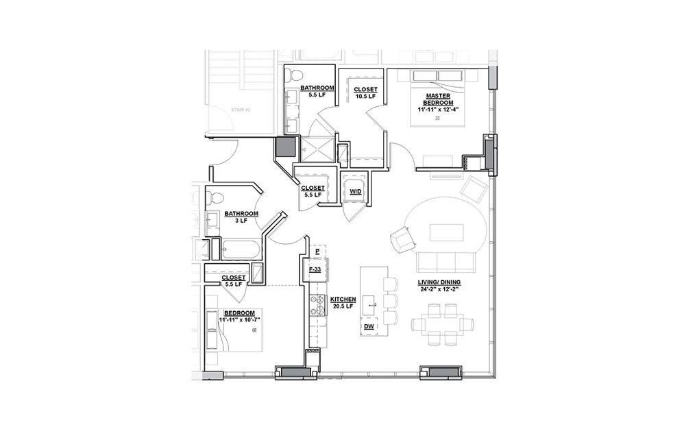 Ensemble 2 Bedroom 2 Bath Floorplan