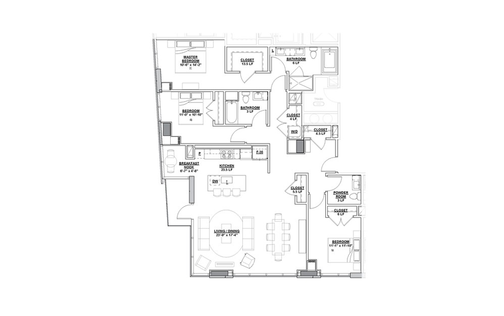 Impresario Penthouse 3 Bedroom 2.5 Bath Floorplan