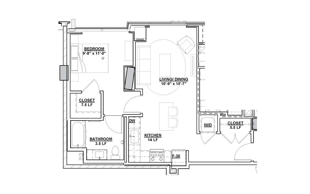 Libretto 1 Bedroom 1 Bath Floorplan