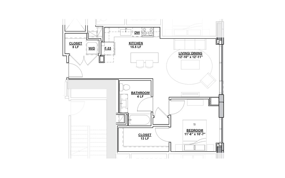 Limelight 1 Bedroom 1 Bath Floorplan