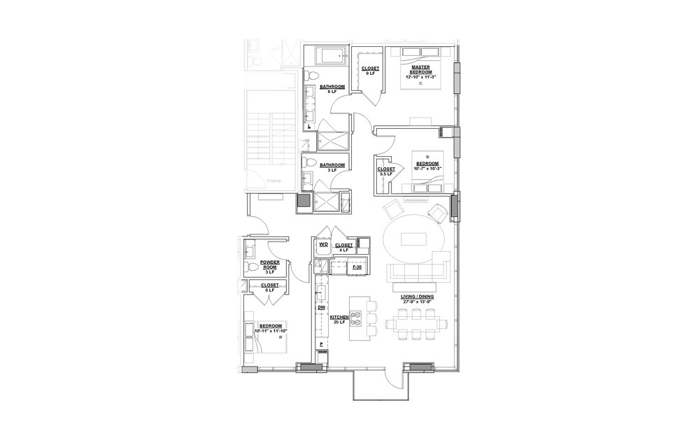 Luminaire Penthouse 3 Bedroom 2.5 Bath Floorplan