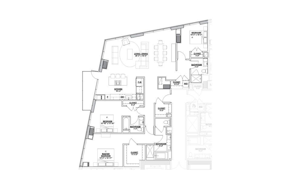 Marquee Penthouse 3 Bedroom 3 Bath Floorplan