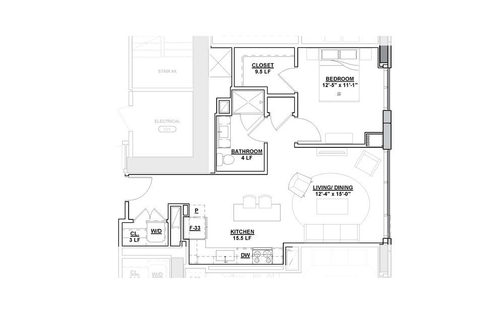 Muse 1 Bedroom 1 Bath Floorplan