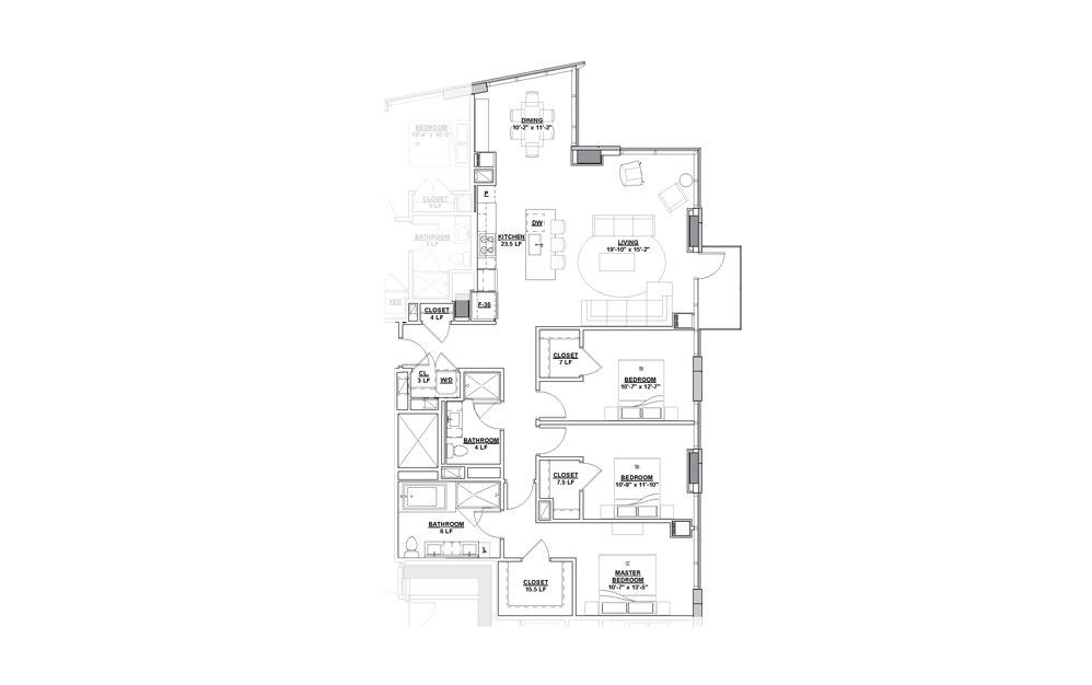 Orchestra Penthouse 3 Bedroom 2 Bath Floorplan