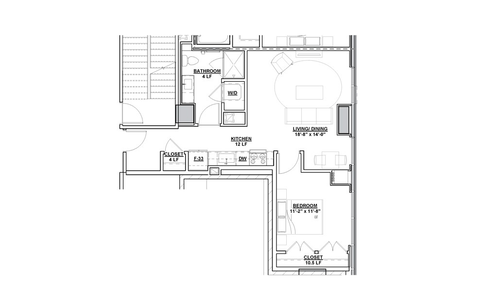Profile 1 Bedroom 1 Bath Floorplan