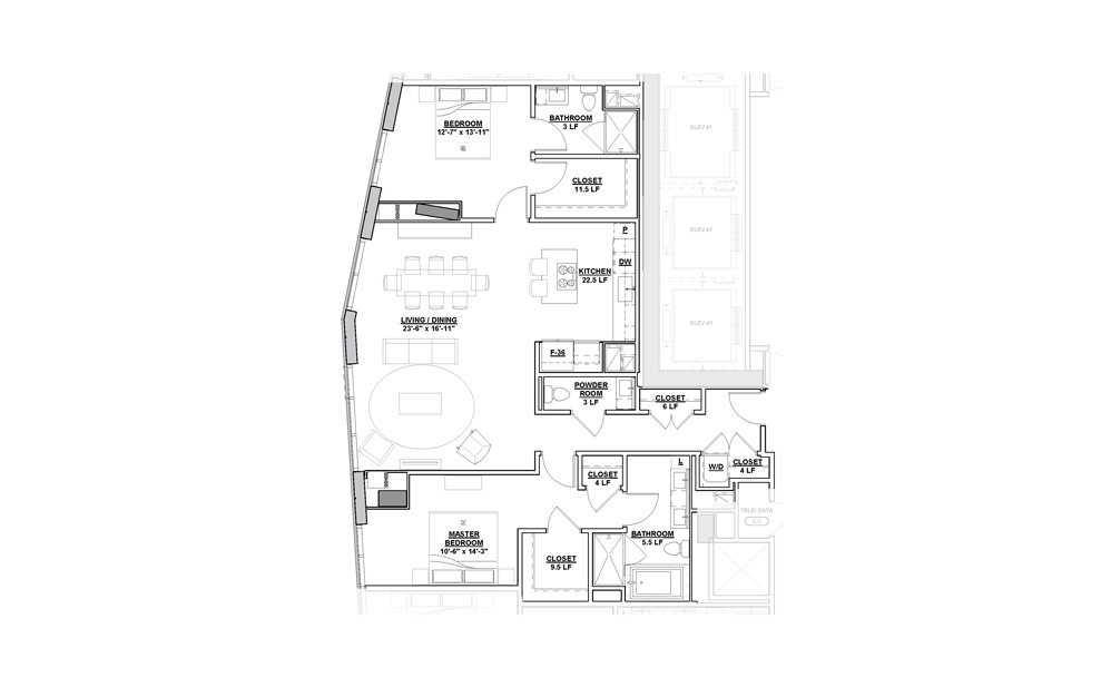 Promenade Penthouse 2 Bedroom 2.5 Bath Floorplan