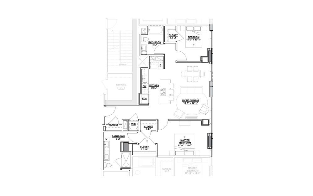 Spotlight 2 Bedroom 2 Bath Floorplan