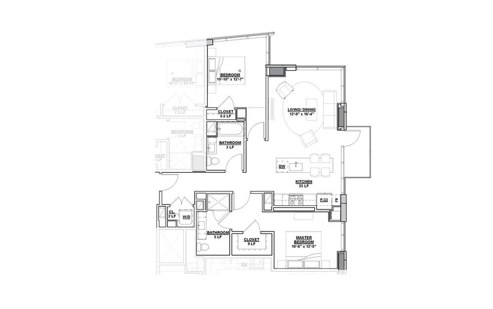 Vignette 2 Bedroom 2 Bath Floorplan